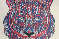 Red White and Blue Lion