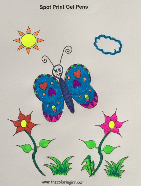 Test Picture Colored with Spot Print Gel Pens