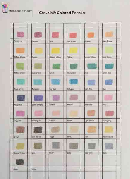 Color Charts For Colored Pencils The Coloring Inn