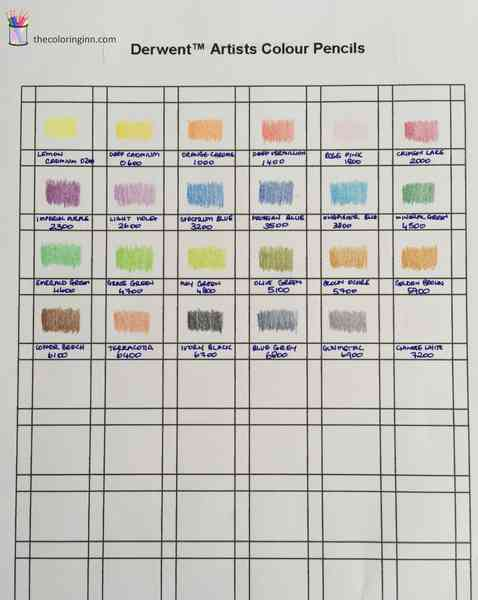 Color Chart For Derwent Artists Colour Pencils The Coloring Inn
