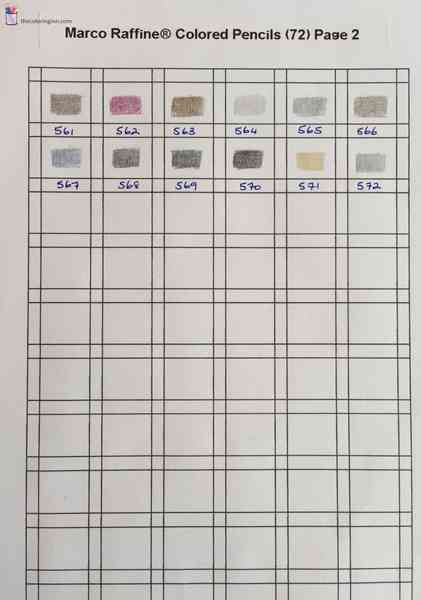 color charts for colored pencils