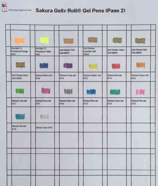 Color Chart For Sakura Gelly Roll Gel Pens Artist Pack The