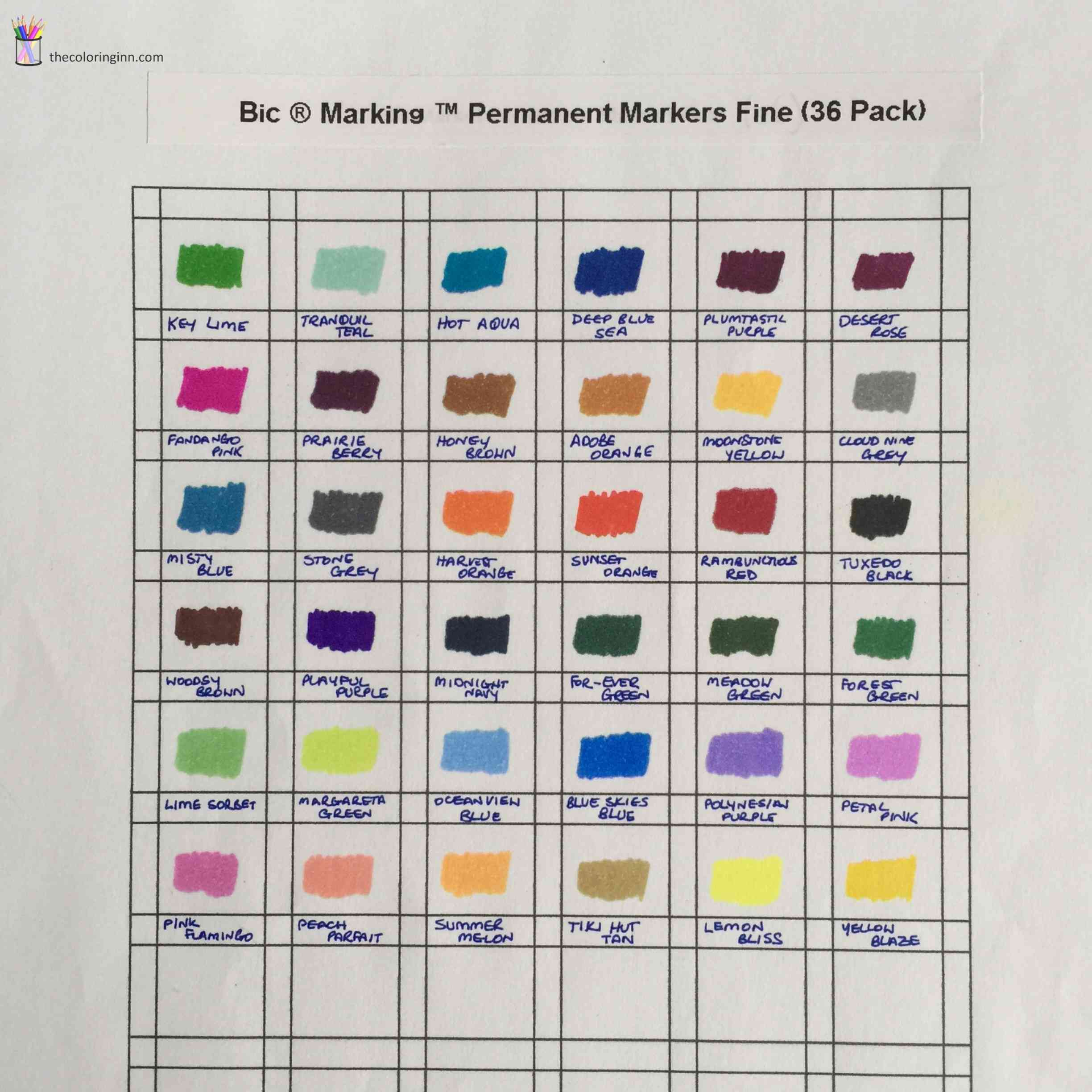 color charts for marker pens