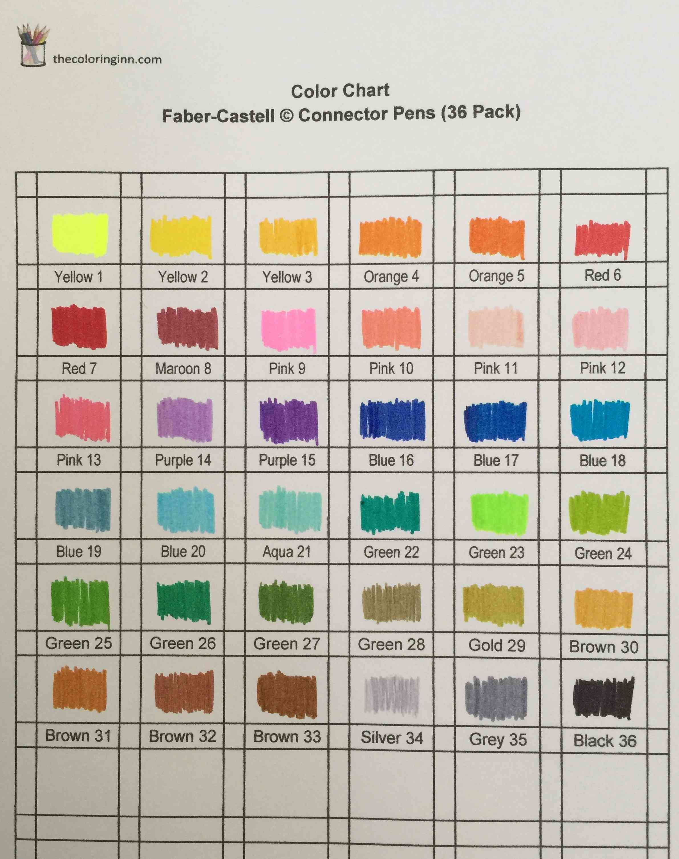 Color Charts For Marker Pens The Coloring Inn Staedtler Triplus Fibre Tip Pen 323 20 Magenta Fineliners 334 Chart Faber Castell Connector