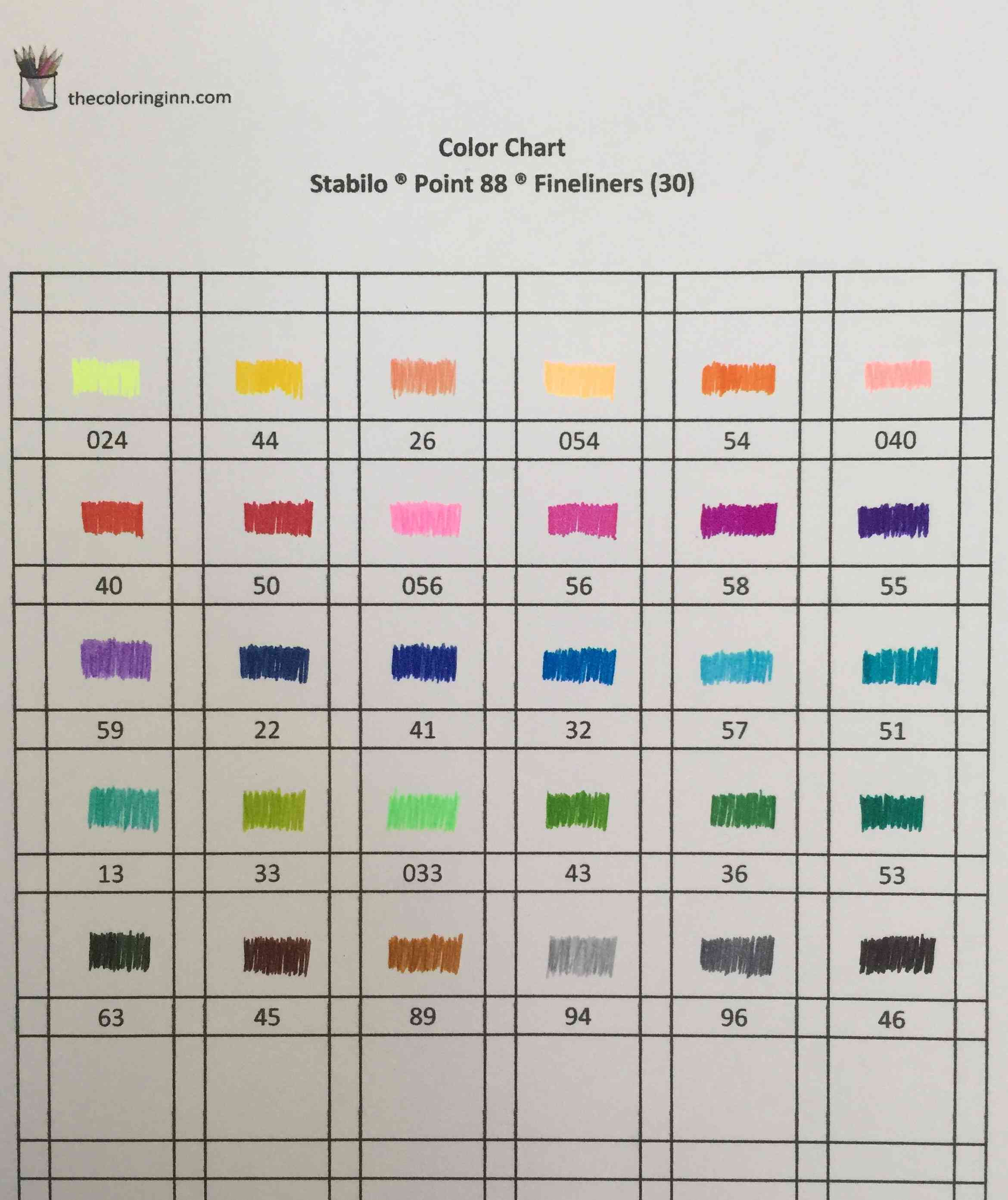 Color Chart For Stabilo R Point 88 R Fineliners