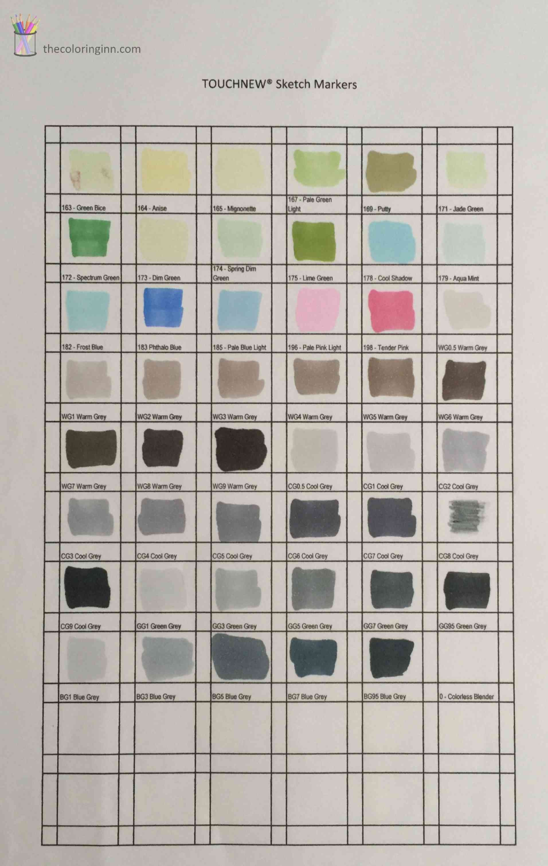 Color Chart For Touchnew 174 Sketch Markers The Coloring Inn
