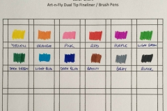 Art-n-Fly-Dual-Tip-Brush-Pens-Fineliners Color Chart