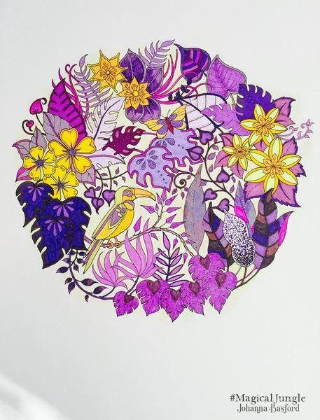 Magic Jungle Bright Yellow Pink And Purple Flowers Media Staedtler Triplus Fineliners Stabilo 88 Sakura Gelly Roll Gel Pens