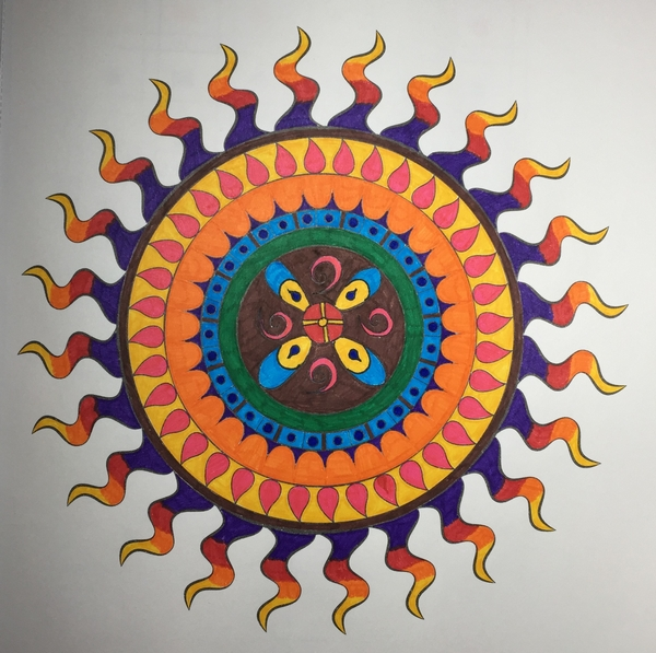 Sun Shaped Mandala Pattern Media Faber Castell GRIP Finepens Source Nature Mandalas Publisher Artist Thaneeya McArdle