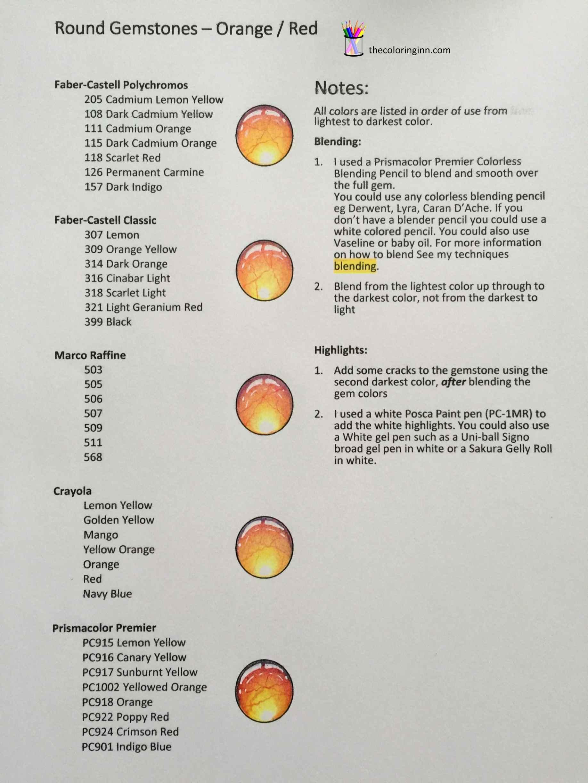 Round Gemstones Orange Red